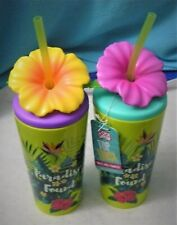 New Cool Gear Tropical 18 oz Single Wall Tumbler Water Bottle Hibiscus Flower