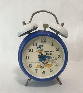 Vintage Bradley Disney Donald Duck Bell Germany Alarm Clock - Works & So Clean!