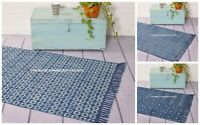 Indian Hand Block Printed Cotton Kilim Hand Woven Flat Weave Bohemian Carpet Rug
