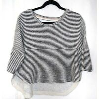 Deletta Anthropologie Oversized cropped Hi Lo Black and White Striped Top Size M