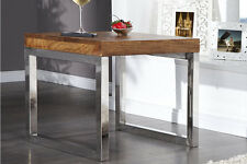 Table basse d'appoint Stage bois véritable CHROME sheesham massif design