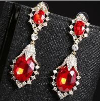 Beautiful Long Red Crystal Rhinestone Wedding Drop Dangle Earrings Pair Prom