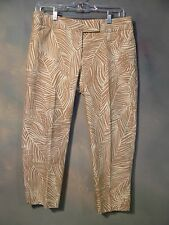 NEW WITHOUT TAGS TALBOTS LADIES PETITE CROPPED PANTS BEIGE / IVORY PRINT SZ 6P