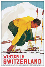 WINTER IN SWITZERLAND 1938 Vintage Skiing Travel POSTER Reprint by E.Hermes