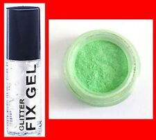 FINE LIME GREEN PRO GLITTER DUST POWDER EYES  FACE BODY NAILS+CLEAR FIX GEL(118*