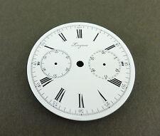 Antique Longin 00006000 Es Chronograph Enamel Dial 43mm for Pocket Watch. Ca 1910's