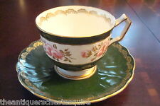 Aynsley England Mid Century cup and saucer green and flowers, old item[4*64]