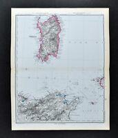 1892 Stieler Map Sardinia Cagliari Italy North Africa Tunisia Algeria Tunis