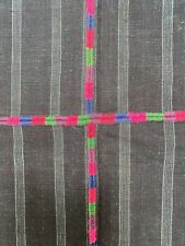 Guatemalan vintage Indigo Blue With Silky Multi Colored Embroidery Textile