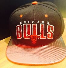 Chicago Bulls Black SnapBack Red Leather Look Visor Mitchell Ness Basketball Hat