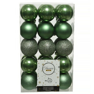 6cm Green Shatterproof Baubles 30 Pack | Christmas Tree Decorations