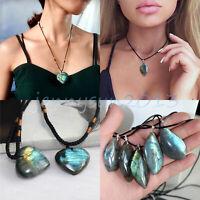 Women Braid Chain Labradorite Pendant Natural Stone Necklace Crystal Moonstone