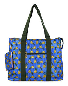 Jenzys Womens Teens Pineapple Large Shoulder Tote Bag for Travel Shopping Gym