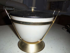RARE FIRE KING COVERED SERVER ICE BUCKET MID CENTURY VINTAGE HOLDER CARRIER