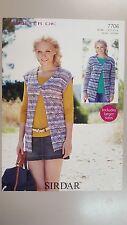 Sirdar Knitting Pattern #7706 Ladies Vest or Cardigan to Knit in Crofter DK Yarn