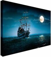 Ghost Ship on Blue Night Canvas Wall Art Picture Print