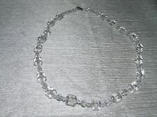 Estate Clear Small Plastic Faceted with Large Squat Barrel Bead Necklace – 20 in