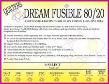Quilters Dream Fusible Blend 80/20 Cotton Poly Batting Select Loft  Craft Size
