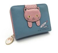 Cute Cat Wallets For Women Small Zipper Designed Leather Coin Purse Card Holder