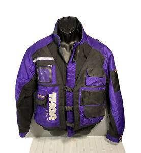 Thor Brema Peninsula Motorcycle Jacket- large Made In Italy Purple/Black