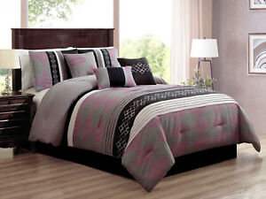 7P Armel Diamond Embroidery Pleated Comforter Set Purple Black Gray Silver Queen