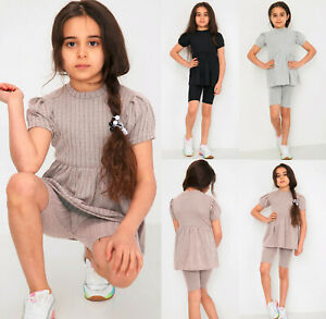 Girls Pinstripes Pleated Frill Dress Top Kids Shorts Outfit Two Piece Co ord set
