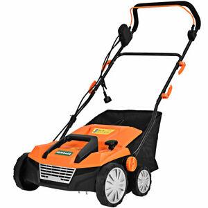 "13Amp Corded Scarifier 15"" Electric Lawn Dethatcher w/50L Collection Bag Orange"