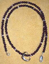 14KT Gold Vintage Sweet Hanging Heart Pendant Garnet Quartz Stone Beads Necklace