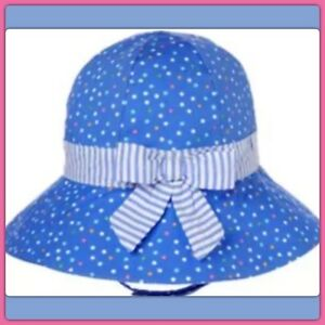 NWT 0-3 Gymboree BUBBLY BABY sun Hat Blue Cotton fully lined Dots Chin Strap. .X
