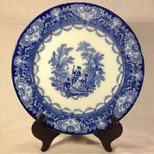 "Antique Doulton Watteau Victorian Flow Blue 10 1/2"" Dinner Plate"
