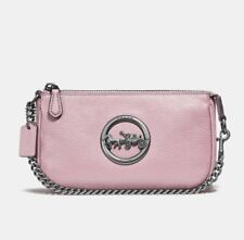 NWT! Coach F31584 Horse And Carriage Large Leather Wristlet 19 Carnation/Silver