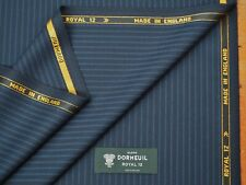 DORMEUIL 'ROYAL 12' DARK NAVY STRIPE WOOL SUITING FABRIC 3.5M - MADE IN ENGLAND