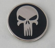 PUNISHER LAPEL BADGE ENAMEL AND NICKEL PLATED 25MM IN DIAMETER WITH 1 PIN & CLIP