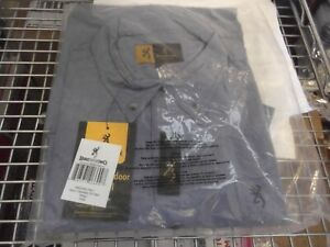 Browning Mens Chambray S/S shirt color is indigo -L Brand New with Tags