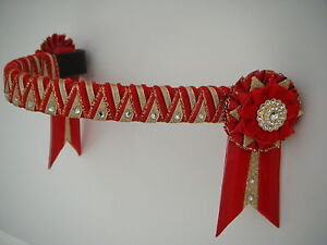 Red and gold supreme Cornerstone browband - velvet showing browband - £26.99