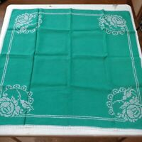 "Vtg Linen Hand Embroidery Square Tablecloth, Rose, Green, 32"" x 33.5"" Free Ship"