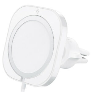 For MagSafe Charger Case   Spigen [ MagFit ] Car Mount Cover NO CHARGER White