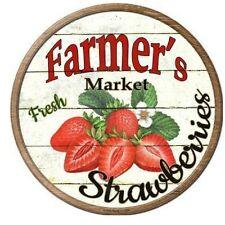 "Farmers Market Strawberries Novelty Metal Circular Sign 12"""