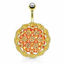 Belly Button Ring Floral Shield Fancy Navel Ring Large Pave CZ Rose Goldtone