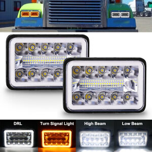 2pcs 4x6 Inch LED Headlights Commercial Truck Sealed Beam DOT HI/LO White 6000K
