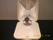Gold Ring Gelbgold 585 / 14 Karat mit 9 Saphiren und 4 Diamanten Unikat? Gr. 55