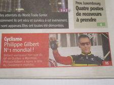 PHILIPPE GILBERT : GAGNE LE GP DE QUEBEC - N°1 MONDIAL - 10/09/2011
