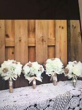 Lot Of 4 Pcs Rustic Shabby Burlap Toss. Bridesmaids Wedding Bouquets Ivory