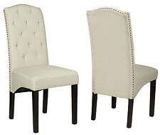 Cortesi Home Alessa Camelback Dining Chair in Beige Linen  (Set of 2)