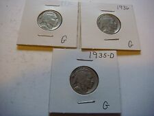 New listing Lot of 3 Buffalo Nickels U.S five cent Coins 1936, 1935-D, 1936 #9609