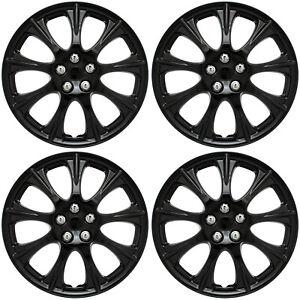 "4 Pc Set of 14"" ICE (SHINY) BLACK Hub Caps Rim Cover for Steel Wheel Covers Cap"