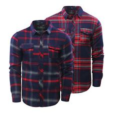 Mens Check Shirt Crosshatch Fitzroya Flannel Brushed Cotton Long Sleeve