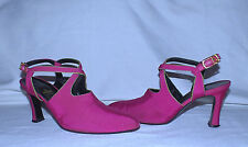 FENDI Scarpe Italy Satin Leather made Heels-Size 7M Usa-Pink Lime trim-Gorgeous!
