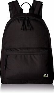 Lacoste Unisex Neocroc Classic Solid Canvas Backpack, Black