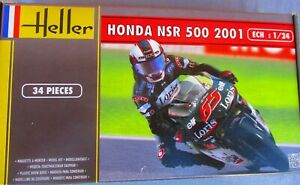 HONDA NSR 500 2001 RACING MOTORCYCLE  w/RIDER   HELLER 80924  1/24 kit